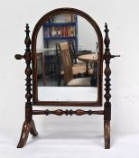 Possibly late 19th/early 20th century small toilet mirrorwith arch top, strung frame, spindle