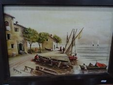 Oil on board Mediterranean harbour scene, signed Caminiti Watercolour drawing Young girl in a mob
