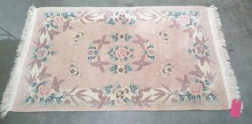 20th century peach ground Chinese superwash rug, 150cm x 92cm