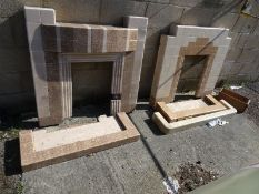 Two 20th century tile fireplaces (2)