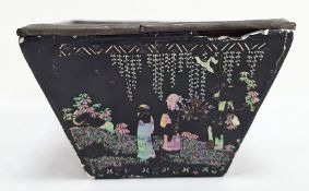 Chinese lac burgaute small bowl, square and and tapering, typically decorated with shell figures