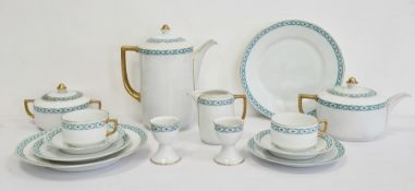 Bavaria porcelain tea and dinner service with white ground and decorated in turquoise blue borders