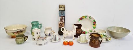 Mixed collection of studio ceramics to include jug, vase and candle holder wall plaque, a part