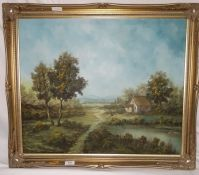 P Vogel Oil on canvas Rural scene with woman feeding her chickens by a cottage and a lake with trees