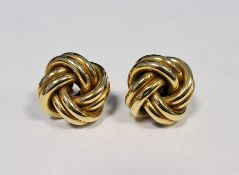 Pair 9ct gold knot-pattern earrings, approx 5g
