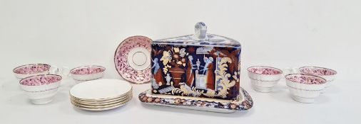Masons ironstone china style cheese dish decorated in the Imari pattern and a 19th century pink