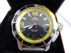 Gent's deLorean stainless steel wristwatch, water resistant, with black dial, boxed