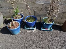 Four blue glazed planters (4)