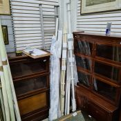 Seven assorted curtain poles, three in original boxes with fittings and a Roman blind, width 54-