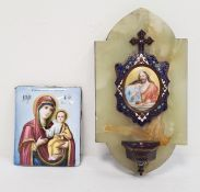 Russian enamel plaque featuring Virgin Mary and Baby Jesus, 9cm x 7.5cm and a further wall-hanging