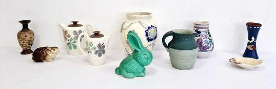 Poole pottery vase,a Torquay pottery vase, a Sylvac style green glazed rabbit, a Doulton Lambeth