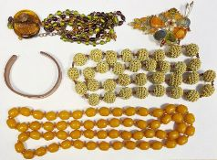 Quantity of bead necklaces, silver earrings andother costume jewellery(1 box)