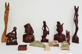 Collection of carved hardwood figures to include a pair of busts and various Asian ladies, a model