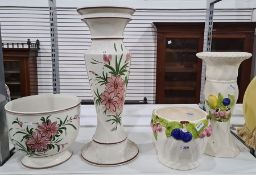 Jardiniere and standwith fruit in relief with a matching tall vaseand anotherpainted with pink