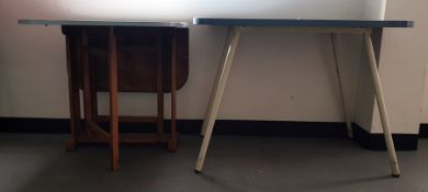 Mid century blue melamine-topped kitchen tableand a gateleg table(2)