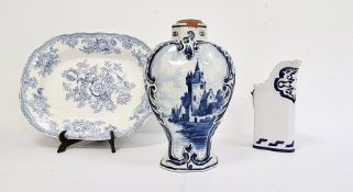 Delft blue and white glazed pottery vase, a 19th century Royal Worcester blue and white jug