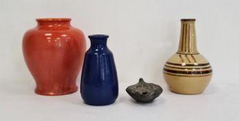 Astraware vase, baluster-shape and orange glazed, a studio pottery vase, cream glazed, ball and