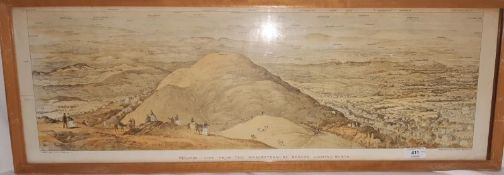 """Published by H Guy, Malvern Pair coloured lithographs """"Malvern, view from the Worcestershire Beacon"""