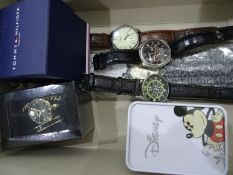 Disney watch with Mickey Mouse to the dial, in tin box, a Tommy Hilfiger gent's wristwatchwith