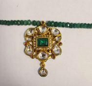 Polychrome enamel green, white and pink stone pendant with green hardstone bead necklaceCondition