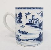 19th century Chinese porcelain mug, cylindrical with figures in lakeside landscape painted in
