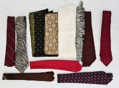 Large collection of gent's vintage ties together with two pairs of shoes and various scarfs,