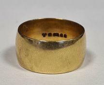 9ct gold plain broad wedding ring, approx 6.5gCondition Reportsize approx q 1/2 and approx 8mm wide