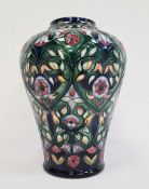 Moorcroft inverted baluster-shaped vase, 'Anatolia' pattern, green ground with pink and white