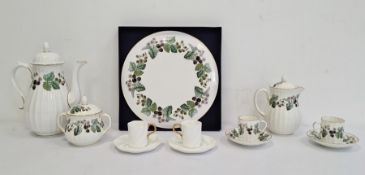 19th century white glazed Coalport part coffee service of 6 cups and 4 saucers, a Royal Worcester ""
