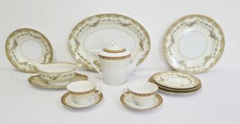 Noritake china part tea and dinner service 'Loyalo' pattern, comprising dinner plates, side