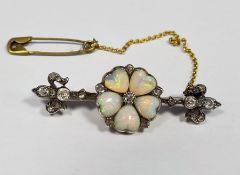 Antique pin bar brooch set with heart-shaped opals and diamonds, boxedCondition ReportNot