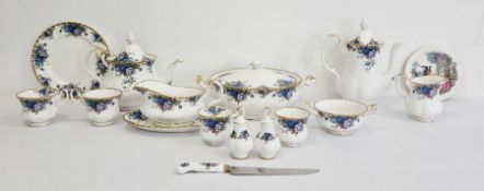 Unusual Royal Albert bone china part dinner and tea service 'Moonlight Rose' pattern, comprising