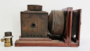 W. Gibbons horizontal enlarger with mahogany case, circa 1880-1890 with an additional brass lens,