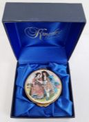 Kingsley miniature enamel trinket box 'English Costume - 17th Century' and decorated with pair of