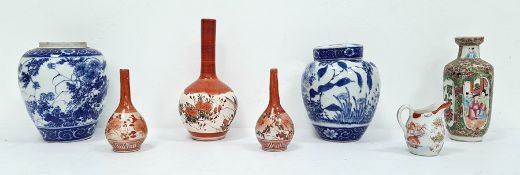 Two various Japanese porcelain ginger jars, a Chinese Canton porcelain rouleau vase, three various