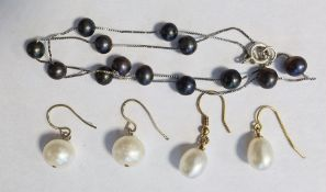 Two pairs of various cultured pearl drop earringsand a black cultured pearl and silver chain link