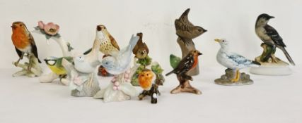 Collection of various pottery and porcelain model birds to include three various Goebel birds, a