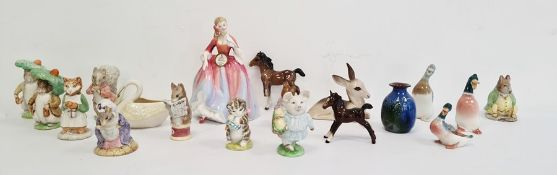 Collection of Beatrix Potter animals to include 'Ginger', 'Benjamin Bunny', 'Timmy Tiptoes', 'Lady