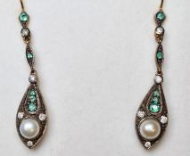 Pair of emerald, pearl and diamond drop earrings, boxed