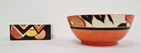 "Clarice Cliff pottery bowl ""Fantasque Bizarre"" range, circular and decorated with orange flowers"