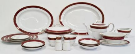 Noritake Japanese dinner service with white ground, red and gilt border Condition ReportComprises