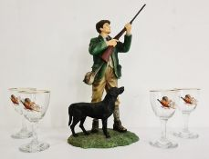 The Leonardo Collection figure group man hunting game with dog together with four glasses