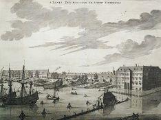 "After Joseph Mulder (1668-1738) Black and white engraving ""S'Lants Zee-Magazyn en Scheeps"