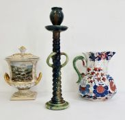 Large Masons ironstone china jug decorated in the Imari pattern, a studio pottery candlestick and