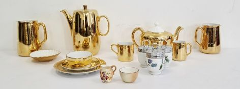 Royal Worcester porcelain gold decorated part coffee and tea service, three Royal Worcester