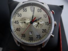Gent's Ferrari Scuderia chronograph wristwatchin stainless steel case and having brown leather