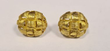 Pair 18K gold earrings, each oval and osier-pattern, approx 15.3g