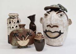 Interesting collection of 20th century studio pottery to include vases and a stylised pottery figure