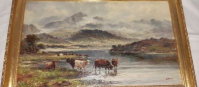 J Morris Pair oils on canvas Highland cattle standing in and by a lake, mountains in the