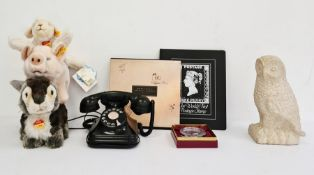 1930's bakelite telephone in good condition together with a Wedgwood glass paperweight etched and in